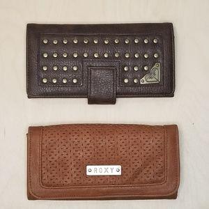 2 Roxy Wallets Brown Faux Leather